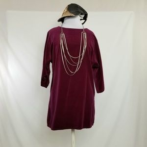 "Burgundy No Stretch Velvet Feel Tunic 38"" Bust"